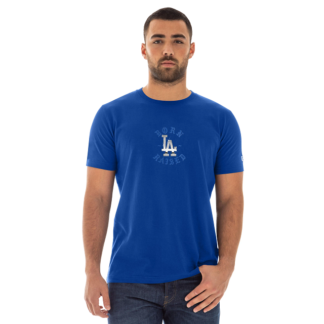 Born X Raised Los Angeles Dodgers Blue Arc Short Sleeve T-shirt | Los Angeles Dodgers Born X Raised X Los Angeles Dodgers | New Era Cap