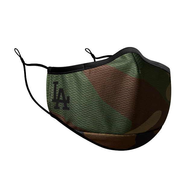 Los Angeles Dodgers Woodland Camo Face Mask | Los Angeles Dodgers MLB Face Masks | New Era Cap