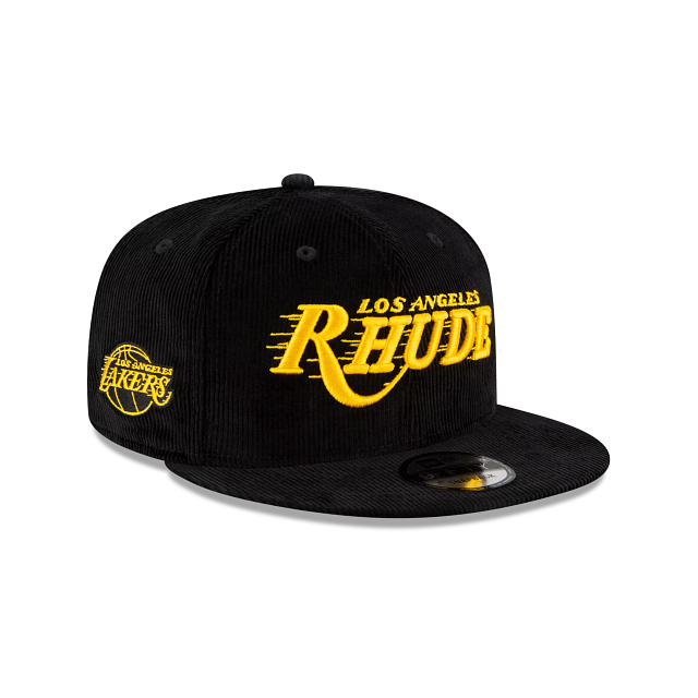 Rhude X Los Angeles Lakers Black Corduroy 9FIFTY Snapback | Los Angeles Lakers Hats | New Era Cap